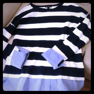 J Crew rugby stripe top with shirttail hem